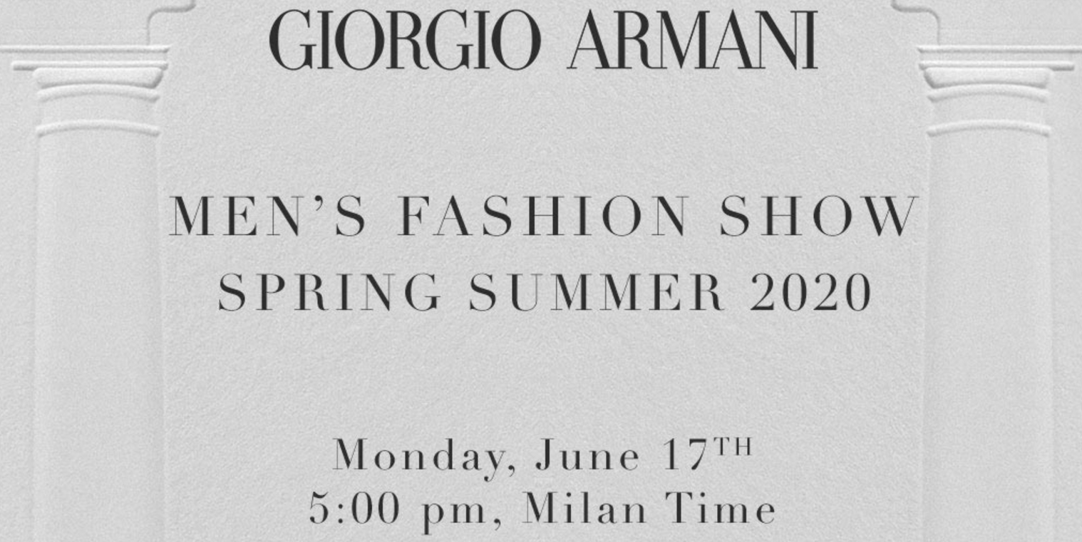 Watch here: the Giorgio Armani Spring/Summer 2020 show live from Milan