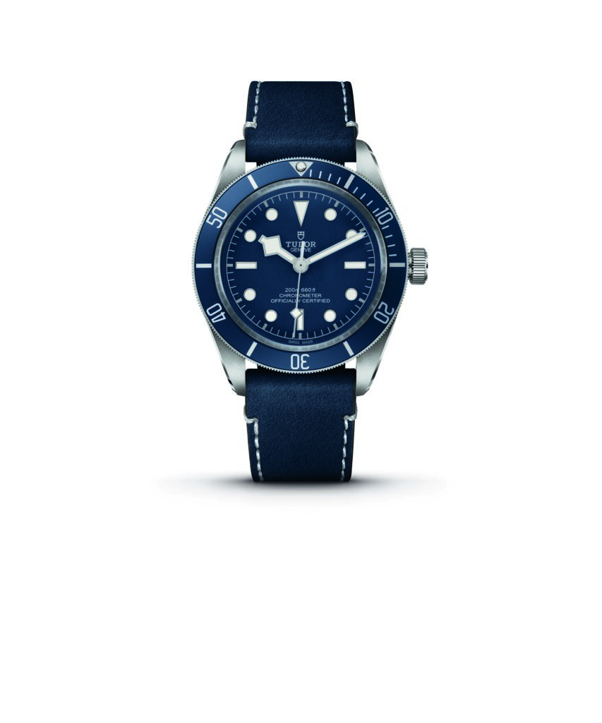 """Tudor Black Bay Fifty- Eight Navy Blue in steel case and blue """"soft touch"""" strap"""
