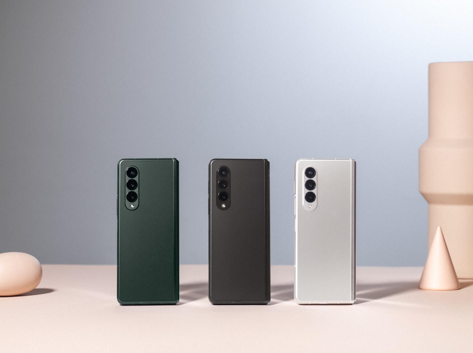 Samsung Galaxy Z Fold 3 in Phantom Green, Phantom Black and Phantom Silver